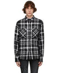 Faith Connexion Chemise noire et blanche en tweed de mohair exclusive à SSENSE