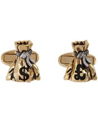 Paul Smith Gold And Silver Money Bag Cufflinks - Metallic