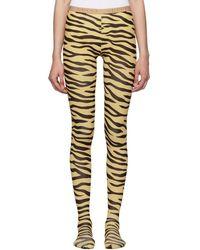 Gucci - Black And Beige Zebra Print Tights - Lyst