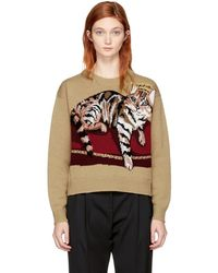 Dolce & Gabbana - Tan Cashmere Crowned Bengal Cat Jumper - Lyst