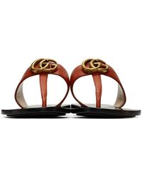 Gucci Red Leather Double G Sandals - Brown