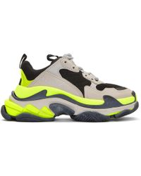 Balenciaga - Grey And Yellow Triple S Sneakers - Lyst