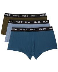 HUGO ブルー & グリーン ロゴ トランク ボクサー 3 枚セット