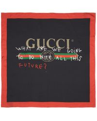 Gucci - Black & Red Silk 'future' Logo Scarf - Lyst