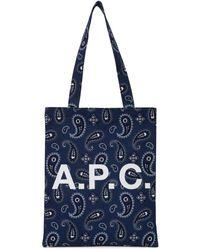 A.P.C. ネイビー Lou トート - ブルー