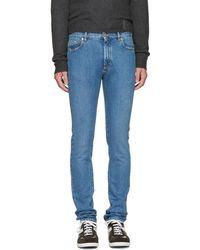 Maison Margiela - Indigo Skinny Distressed Jeans - Lyst