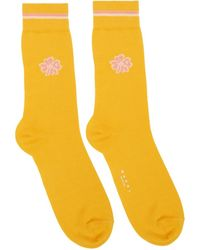 Marni Yellow Calf-high Clover Socks