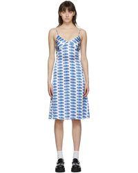 Ashley Williams White & Blue Silk '' Slip Dress