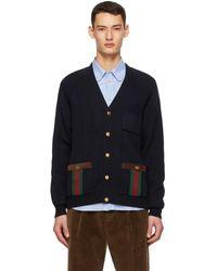 Gucci Cardigan en maille de laine bleu marine Web Stripe