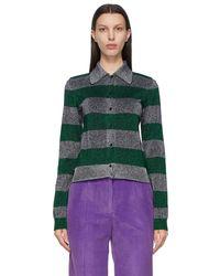 Victoria Beckham Green & Silver Stripe Lurex Cardigan