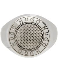 HUGO シルバー ロゴ リング - メタリック