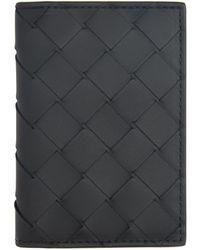 Bottega Veneta - ブラック イントレチャート バイフォールド カード ケース - Lyst