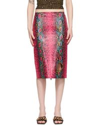 Versace Ink Leather Snake Skirt - Pink