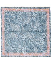 Dries Van Noten ブルー & ピンク シルク Foliage ポケット チーフ