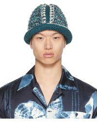 Nicholas Daley Navy & Blue Hand-crocheted Bucket Hat