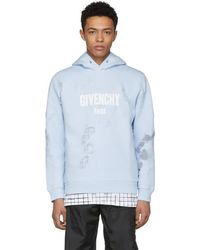 Givenchy - Blue Distressed Logo Hoodie - Lyst
