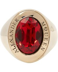 Alexander McQueen - Gold And Red Logo Ring - Lyst