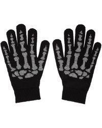 Saint Laurent - Black Cashmere Skeleton Gloves - Lyst