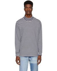 Paa Navy And White Striped Turtleneck - Blue