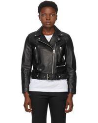 Acne Studios Black Leather Mock Jacket