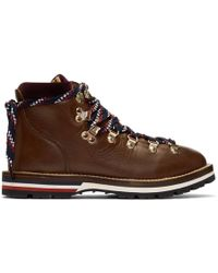 Moncler Blanche Lace Up Leather Mountain Boots - Brown