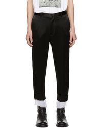 Ann Demeulemeester - Black Dropped Inseam Trousers - Lyst