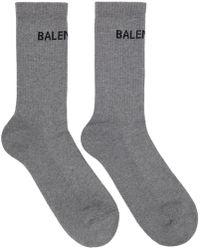 Balenciaga - Grey Logo Tennis Socks - Lyst