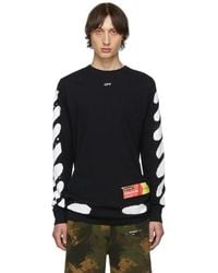 Off-White c/o Virgil Abloh Ssense Exclusive Black Incomplete Spray Paint Long Sleeve T-shirt