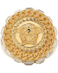 Versace - Gold Crystal Medusa Ring - Lyst