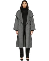 Totême ブラック & ホワイト ヘリンボーン シグネチャ コート