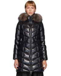 Moncler Flumarus Lacque Fox Fur-trim Quilted Down Coat - Black