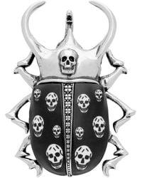 Alexander McQueen Broche en laiton argentee Skull - Métallisé