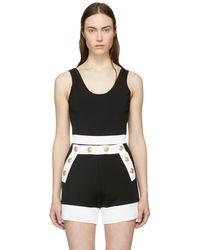 Balmain - Black Stretch Knit Bodysuit - Lyst