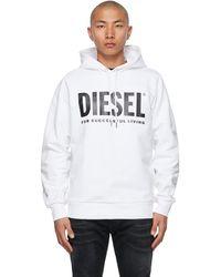 DIESEL - ホワイト S-gir-division ロゴ フーディ - Lyst