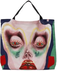 Charles Jeffrey LOVERBOY Pink Small Face Print Tote - Multicolour