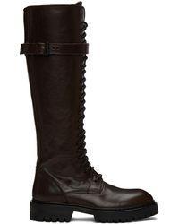 Ann Demeulemeester - Bottes lacées en cuir brunes exclusives à SSENSE - Lyst