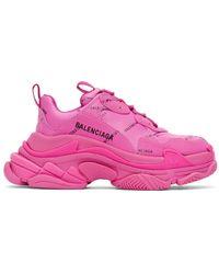 Balenciaga ピンク オールオーバー ロゴ Triple S スニーカー