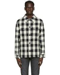 AMI ブラック & オフホワイト ジャケット シャツ