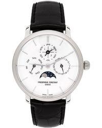 Frederique Constant シルバー And ブラック Slimline パーペチュアル カレンダー 腕時計
