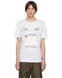 Fendi ホワイト バッグ バグ ジッパー マウス T シャツ