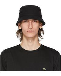 Lacoste Black Cotton Bucket Hat