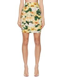 Dolce & Gabbana Jupe en soie a effet ruche fleurie multicolore - Jaune
