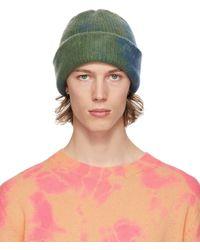 The Elder Statesman Bonnet bleu et vert Hot Dye Watchman exclusif à SSENSE