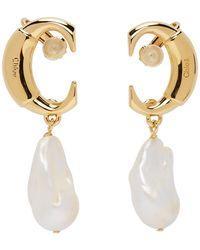 Chloé Gold Darcey Pearl Drop Earrings - Metallic