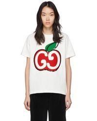 Gucci - ホワイト GG アップル T シャツ - Lyst