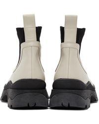 STAUD オフホワイト & ブラック ブーツ