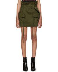 Saint Laurent - Green Belted Cargo Skirt - Lyst