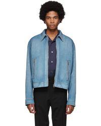 Prada - Blue Suede Jacket - Lyst