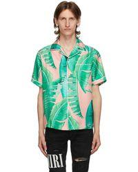 Amiri ピンク And グリーン シルク Banana Leaves パジャマ ショート スリーブ シャツ