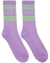 Versace Purple And Green 1990s Vintage Logo Socks